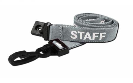 Staff Printed Breakaway Plastic Clip Lanyards - Grey (Pack of 100)