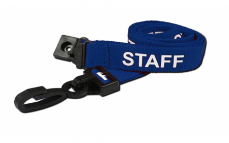 Staff Printed Breakaway Plastic Clip Lanyards - Blue (Pack of 100)