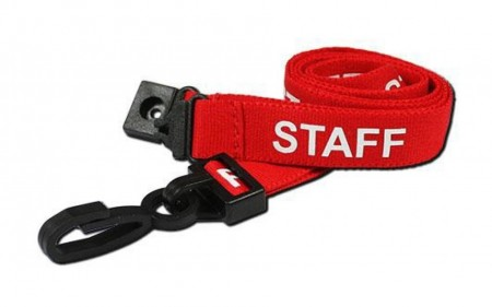 Staff Printed Breakaway Plastic Clip Lanyards - Red (Pack of 100)