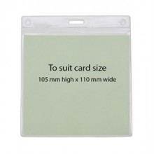 IDM Flexible Landscape ID Badge Holder - 110mm x 105mm, Pack of 100