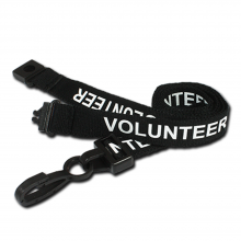 90cm Black Volunteer Breakaway Lanyards with Plastic Clip - Pack of 100