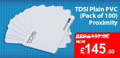 Pack of 100 TDSI Plain PVC Cards for just £145