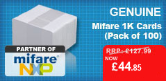 Pack of 100 Genuine Mifare 1k Cards for just £44.85