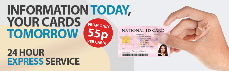 Banner showing a national ID card, and text promoting the 24hr express service